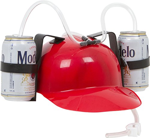Beer & Soda Guzzler Helmet - Drinking Hat By EZ Drinker (Red) (Can Holder Hat compare prices)