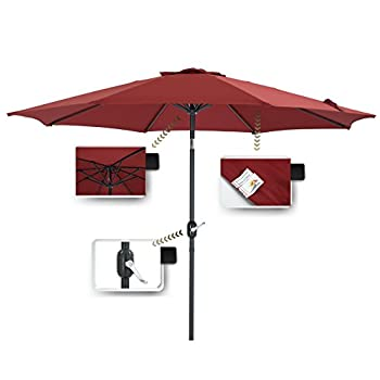 Patio Watcher 9-Ft Aluminum Patio Umbrella with Push Button Tilt and Crank, 250 GSM Fabric,8 Ribs, Red