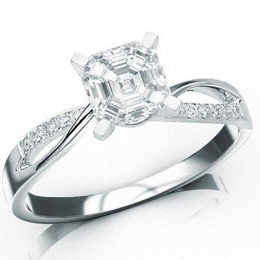 Sale 0.93 Carat GIA Certified Asscher Cut / Shape 14K White Gold Elegant Twisting Split Shank Diamond Engagement Ring ( F Color , VS1 Clarity )
