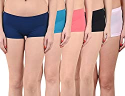 Mynte Women's Sports Shorts (MEWIWCMBP-105-104-102-100-97, Blue, Pink, Black, Baby Pink, , Free Size, Pack of 5)