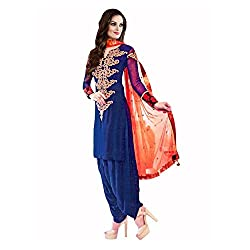 RajLaxmi Women's Fashion Blue Georgette Dress Material