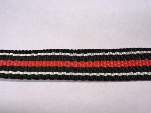 1 Meter HSI Polyester Gurtband schwarz weiß rot Breite 25 mm Meterware Spanngurt