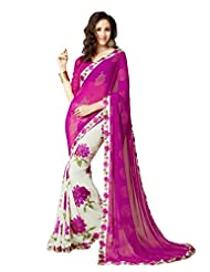 Roop Kashish Satin Chiffon Saree Saree(6309_Pink And White)