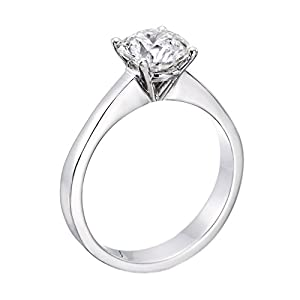 GIA Certified 14k white-gold Round Cut Diamond Engagement Ring (1.13 cttw, F Color, VS2 Clarity)