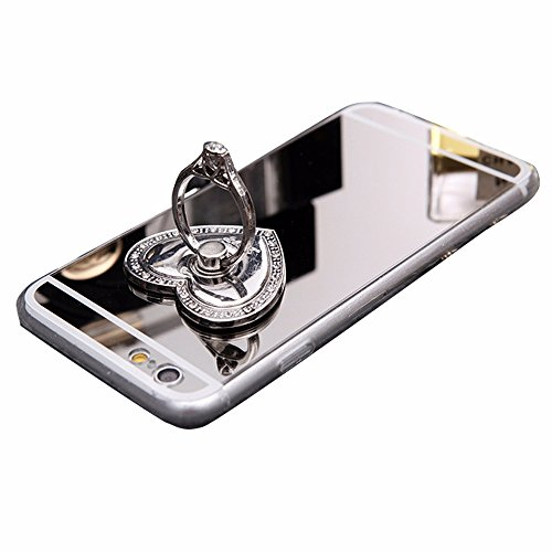 iPhone 6 6S Coque, Doux Anti-rayures Ultra mince Shell Mirror Cover Case TPU Avec 360 degré Anneau Finger Support -Silver