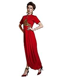 Shonaya Red Colour Hand Work Georgette Stitched Kurti