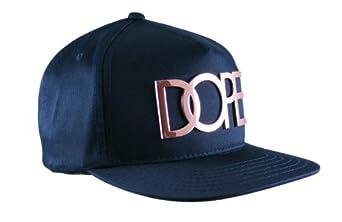 DOPE 24k Metal Logo in Gold Color Snapback Hat (Dark Navy - Rose Gold