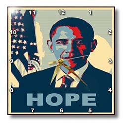 dpp_130694 FabPeople - Presidents and Politics - President Barack Obama in Hope Pop Art - Wall Clocks