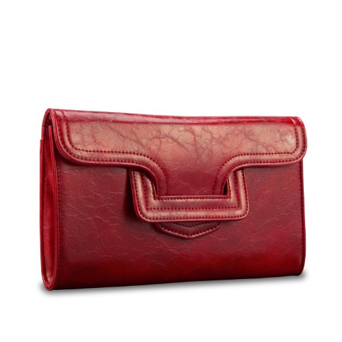 Pluck & Swagger Faye Kindle Faux Leather Case/Clutch in Ruby Red
