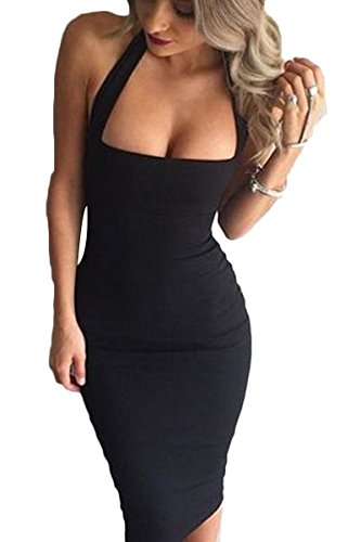Prograce Black Slim Fit Halter Bodycon Bandage Cocktail Club Midi Dress for Women L