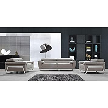 VIG- Encore Divani Casa Modern Grey Leather Sofa Set