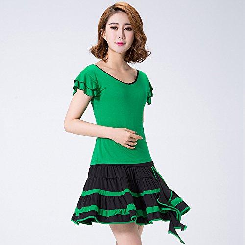 FELONG qfl Set Net Garn von Frühjahr bis Sommer of Latin Square Dance Kleidung T Shirt Pailletten-Röcke XXL grün