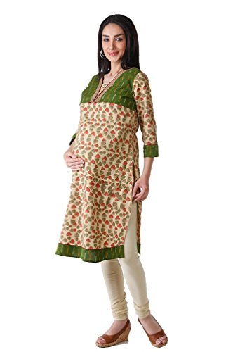Morph Maternity Womens Cotton Maternity Salwar Suit Sets ,Beige & Green ,Small