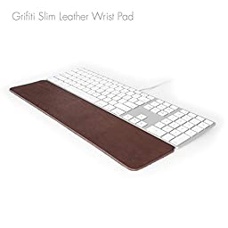 Grifiti Leather Slim Wrist Pad 17 Rest for Apple Wired, Anker, Macally, Logitech, Thin Standard Keyboards
