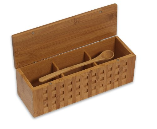 Island Bamboo 10-1/4-Inch Triple Scoop Box
