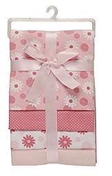 Little Beginnings Four Piece Laddered Receiving Blankets, Pink Flowers