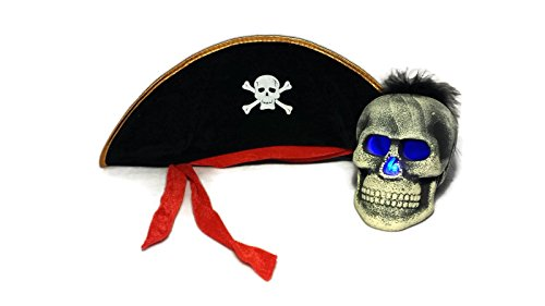 Halloween Collection: Pirate Party Hat & LED Skull with Color-changing Eyes & Nose