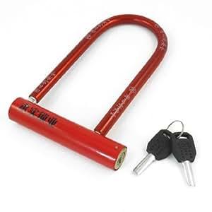 red plastic coated metal bicycle motorcycle safeguard u lock 7 4 w 2 keys bike u. Black Bedroom Furniture Sets. Home Design Ideas