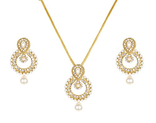 Lady-Touch-New-American-Diamond-Gold-Plated-Ramleela-Pearl-Pendant-Set-for-Girls-Women