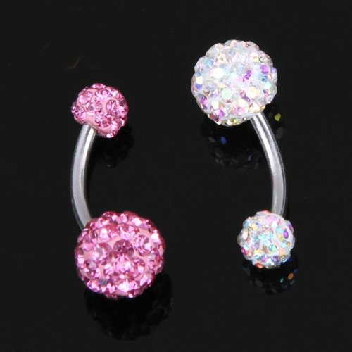 2 Ball Crystal Rhinestone Navel Belly Ring Bar Barbell