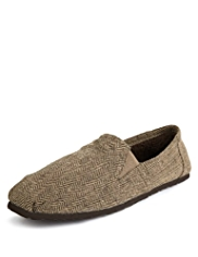 Slip-On Tweed Slippers