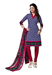 Salwar Studio Dark Blue & Dark Pink Dress Material with Dupatta Rimzim-8020