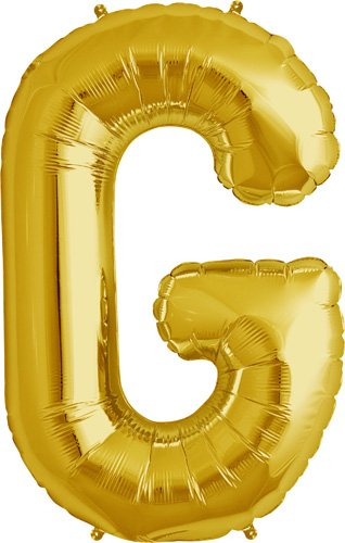 Letter G - Gold Helium Foil Balloon - 34 inch