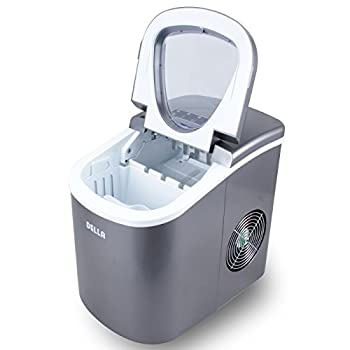 DellaPremium Ice Maker Portable Counter-Top, Daily Ice Making Capacity: 26 LBS (Silver)