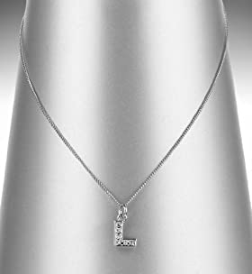 Platinum Plated Diamanté L Letter Pendant Necklace