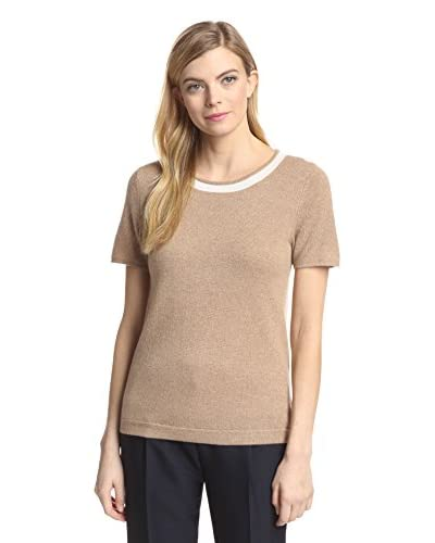 Magaschoni Women's Crew Neck Short Sleeve Sweater