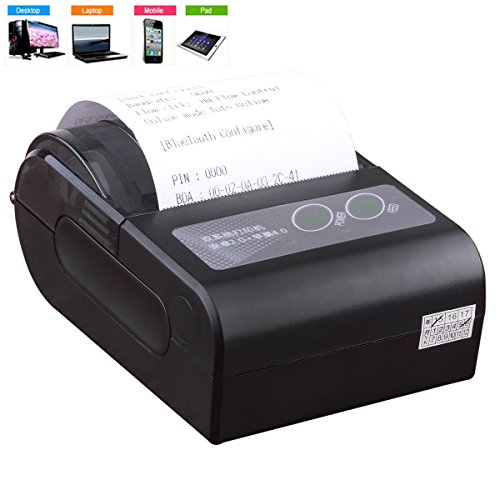 Lepfun HB4 58mm mini Wireless Rechargeable Portable Bluetooth Thermal Receipt Printer Support Dual APP for Android Phone,Android Tablet PC ,PC,iPad and iPhone (Mini Ipad Printer compare prices)