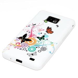 deinPhone Samsung Galaxy S2 i9100 S2 PLUS i9105 S II SILIKON CASE Hülle Schmetterlinge Blumenornament bunt