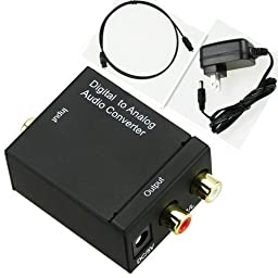MuchBuy Digital Optical Coaxial Toslink Signal to Analog Audio Converter Adapter RCA L/R