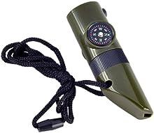 Comprar SODIAL(R) 7 en 1 Herramienta de Emergencia Estilo Militar Silbato Brujula Termometro LED