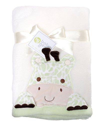 Fisher-Price Baby Gear Green White Giraffe Stroller Blanket