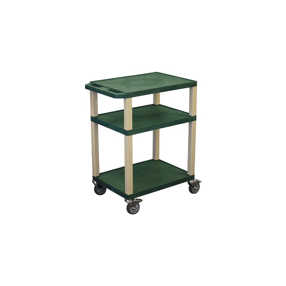 H. Wilson Tuffy Multi Purpose Utility Cart with Chrome Casters Hunter Green and Putty   Kitchen Storage Carts