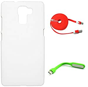FCS Rubberised Hard Back Case For Huawei Honor 7 With USB LED Lamp And Wide Strip 2 Meter Data Cable