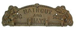 IWGAC 0170S-01614 Cast Iron Rust Haircut and Shave PlaqueHanger by IWGAC