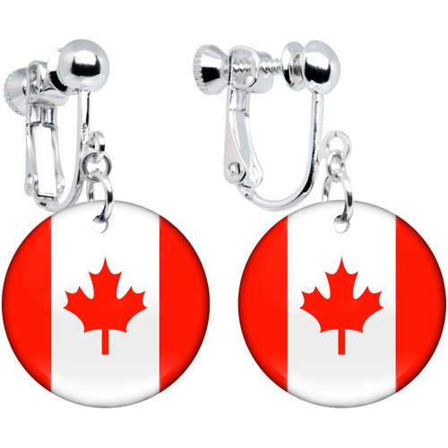 Canada Flag Clip on Earrings