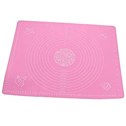 Zicome Silicone Non Stick Baking Mat for Bread, Pastry, Macaron, Cookie, Dough and More - Measurements Included - 15.7 Inch By 19.6 Inch - Flexible and Easy to Store (1, Pink)