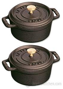 Staub Matte Black Cast Iron Mini Round Cocotte, 0.25 Quart