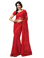 Sudarshan Silk Embroidery Work Sarees.-Red-SAMR1113ASHIKA-VU-Georgette