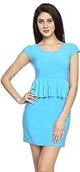 Texco Garments Women's A-Line Dress (19, Sky Blue, M)