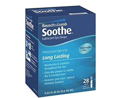 Bausch And Lomb Soothe Lubricant Preservative Free Eye Drops - 28 each, Pack of 3