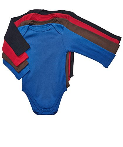 Leveret Long Sleeve 4-pack Solid Baby Boys Bodysuit 100% Cotton (Size 0-24 M) (12-18 Months, Multi)