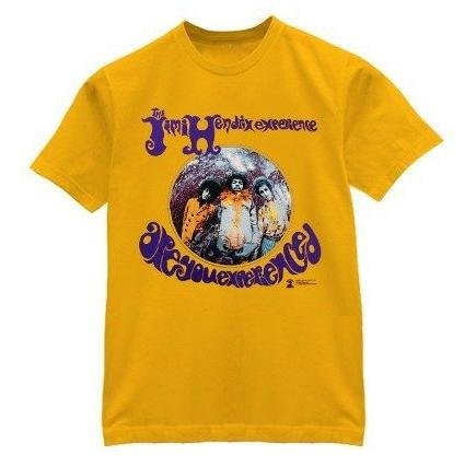 Jimi Hendrix T-shirt 'Are You Experienced' mustard tee (Large)