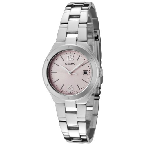 Seiko Women's SXDC49P1 Pink Dial Stainless Steel Watch