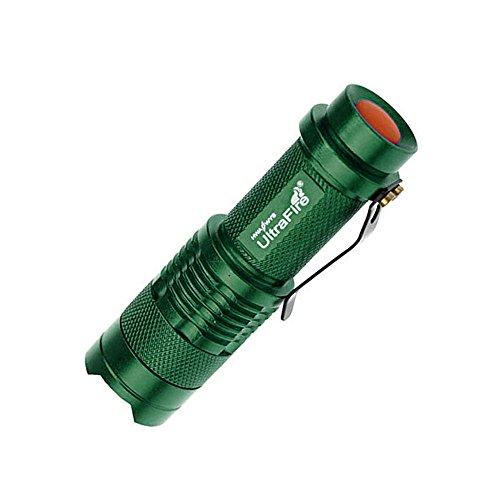 Hamist Mini Cree Led Flashlight Torch Adjustable Focus Light Lamp Green (Pack Of 3)