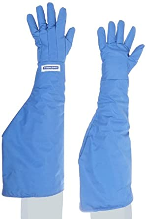 "National Safety Apparel G99CRBESHMDP Nylon Taslan and PTFE Shoulder Waterproof Safety Glove, Cryogenic, 26"" - 27"" Length, Medium, Blue"