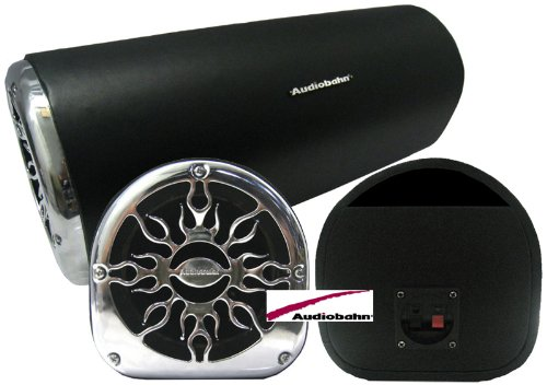 """Atb6Et - Audiobahn 6.5"""" Empty Slot Ported Flat Bottom Enclosure With Chrome Flame Grill"""